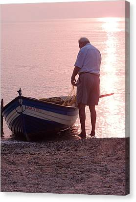 Shoreline Old Men Canvas Print - Untangling The Nets by Tamyra Crossley