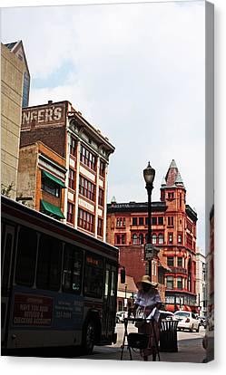 Untitled - Downtown Louisville Street Scene Canvas Print by Chris Fender
