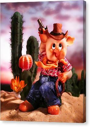Cowboy Pig Canvas Print by Diane Bradley