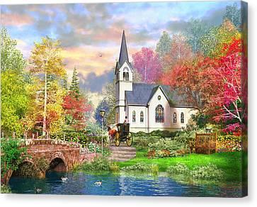 Autumnal Church Canvas Print by Dominic Davison