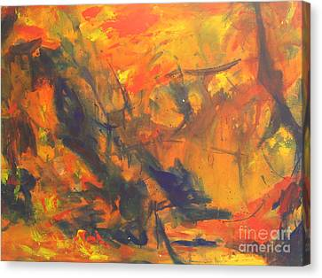 Canvas Print featuring the painting The Autumn Leaves by Fereshteh Stoecklein