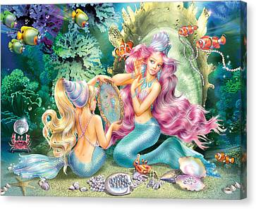 Mermaids And Pearls Canvas Print by Zorina Baldescu
