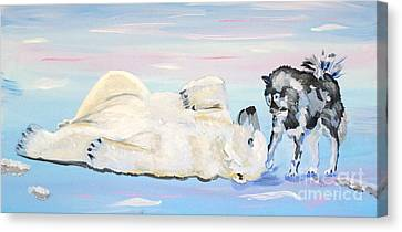 Unusual Buddies  Must Open Canvas Print by Phyllis Kaltenbach