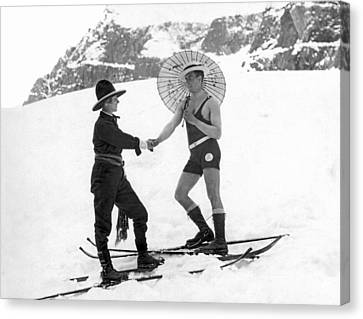 Unusual Meeting On The Slopes Canvas Print by Underwood Archives