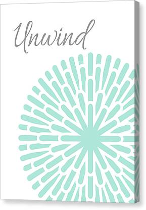 Unwind Aqua Grey Burst Canvas Print