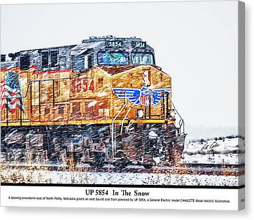 Up 5854 In The Snow With Description Canvas Print