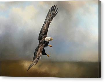 Eagle In Flight Canvas Print - Up Against The Storm by Jai Johnson