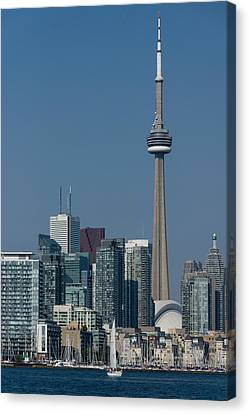 Up Close And Personal - Cn Tower Toronto Harbor And Skyline From A Boat Canvas Print by Georgia Mizuleva