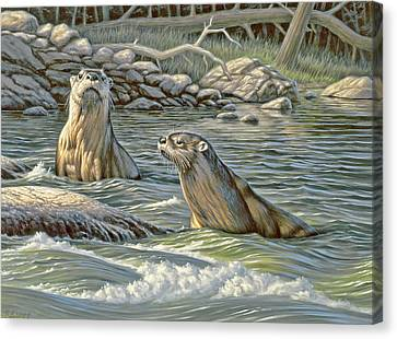 Up For Air - River Otters Canvas Print by Paul Krapf