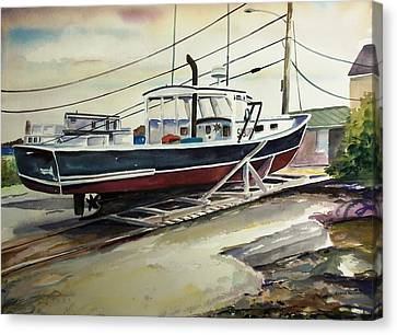 Up For Repairs In Perkins Cove Canvas Print by Scott Nelson