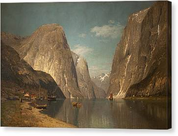 Up The Sogne Fjord, Near Gudangen, 1876 Canvas Print by Adelsteen Normann