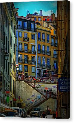 Up The Stairs - Lisbon Canvas Print by Mary Machare