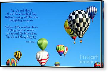 Up Up And Away Poetry Photography Canvas Print