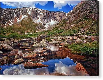 Mountain Reflection Lake Summit Mirror Canvas Print - Upper Chicago Lake by Brian Kerls