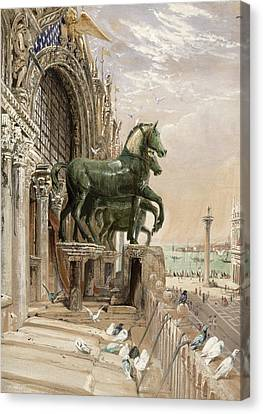 Upper Portion Of The Facade Of St Canvas Print by William Bell Scott