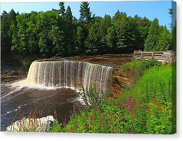 Upper Tahquamenon Falls In Summer Canvas Print by Dan Sproul
