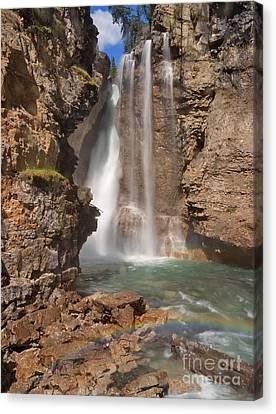 Upper Waterfall At Johnston Canyon Canvas Print
