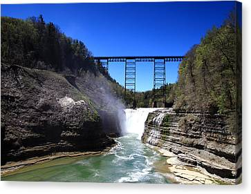 Upper Waterfalls In Letchworth State Park Canvas Print by Paul Ge