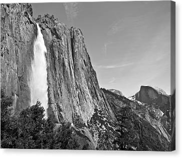 Upper Yosemite Fall With Half Dome Canvas Print by Shane Kelly