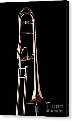Upright Rotor Tenor Trombone On Black In Color 3465.02 Canvas Print by M K  Miller