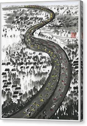 Canvas Print featuring the painting Ups And Downs by Ping Yan