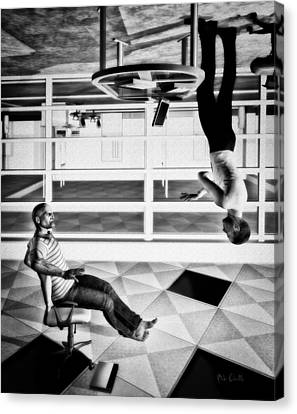 Workers Canvas Print - Upside Down Conversation by Bob Orsillo