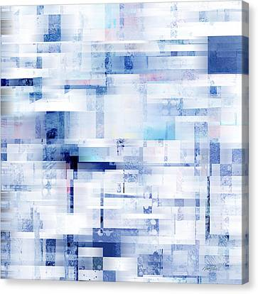 Non-objective Art Canvas Print - Uptown Blues On Square -abstract -art by Ann Powell