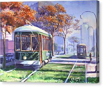 Streetcars Uptown New Orleans Canvas Print by CB Hume