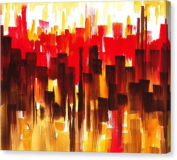 Urban Abstract Glowing City Canvas Print by Irina Sztukowski