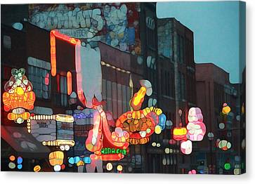 Urban Abstract Nashville Neon Canvas Print by Dan Sproul