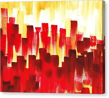 Urban Abstract Red City Lights Canvas Print by Irina Sztukowski