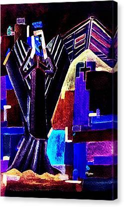Canvas Print featuring the painting Urban Angel Of Dark by Paula Ayers