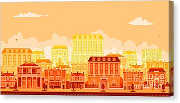 Urban Avenue Scene With Smart Townhouses Canvas Print