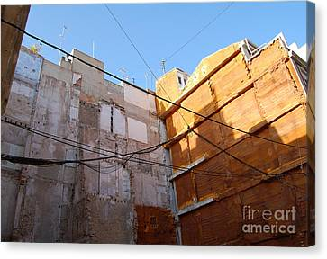 Canvas Print featuring the photograph Urban Blue Sky by Linda Prewer