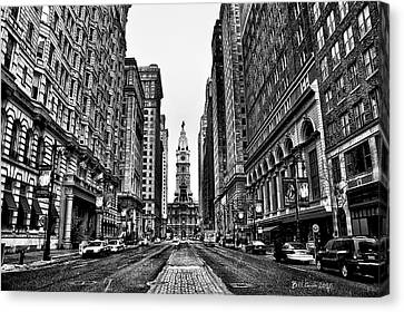 Canyon Canvas Print - Urban Canyon - Philadelphia City Hall by Bill Cannon