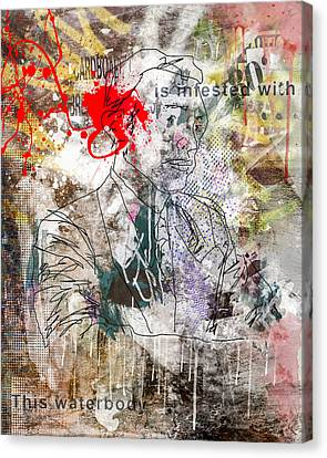 Drips Canvas Print - Male Suit Portrait Grunge Urban Collage  by Andy Gimino