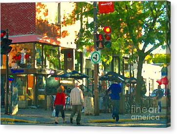Urban Explorers Couple Walking Downtown Streets Of Montreal Summer Scenes Carole Spandau Canvas Print by Carole Spandau