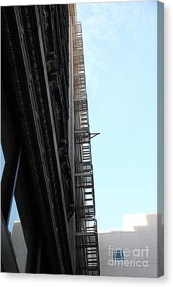 Fire Escape Canvas Print - Urban Fabric - Fire Escape Stairs - 5d20542 by Wingsdomain Art and Photography