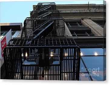 Fire Escape Canvas Print - Urban Fabric - Fire Escape Stairs - 5d20593 by Wingsdomain Art and Photography
