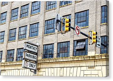 Urban Garage Monthly Parking Only Canvas Print by Janice Rae Pariza