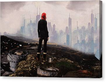 Canvas Print featuring the digital art Urban Human by Galen Valle