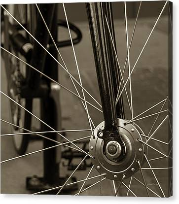 Canvas Print featuring the photograph Urban Spokes In Sepia by Steven Milner