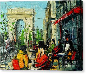 Chat Canvas Print - Urban Story - Champs Elysees by Mona Edulesco