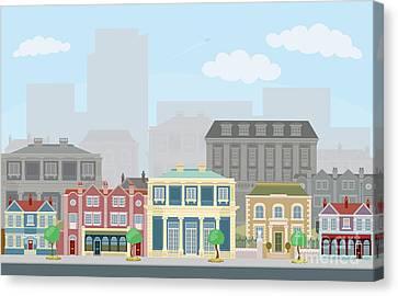 Urban Street Scene With Smart Townhouses Canvas Print