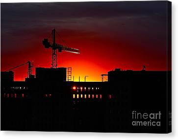 Canvas Print featuring the photograph Urban Sunrise by Linda Bianic