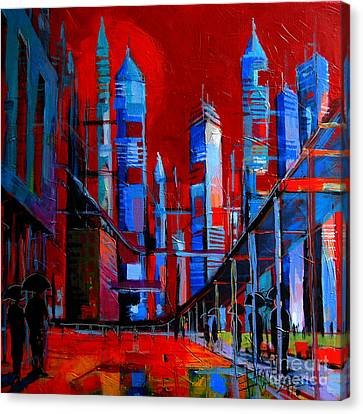 Urban Vision - City Of The Future Canvas Print by Mona Edulesco