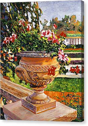 Urn Of English Geraniums Canvas Print by David Lloyd Glover