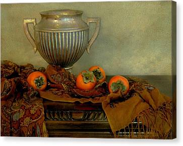 Classic Urn With Persimmons Canvas Print by Diana Angstadt