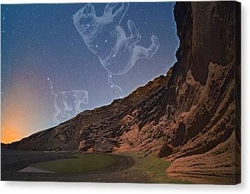 Ursae Constellations Over Volcanic Lagoon Canvas Print
