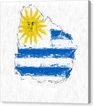 Uruguay Painted Flag Map Canvas Print by Antony McAulay
